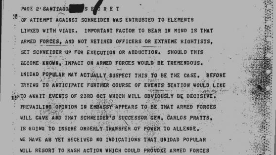 """Cómo se ejecutó la orden de Nixon, Kissinger y la CIA: """"Efectuar la remoción de Schneider"""""""