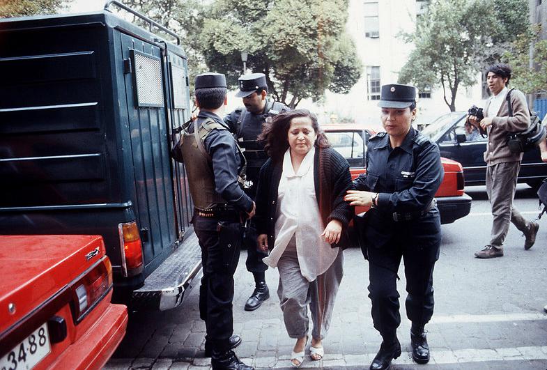María Cristina San Juan, propietaria de la casa-retén, detenida por Investigaciones en 1992. Fue liberada en 2000 por razones humanitarias.