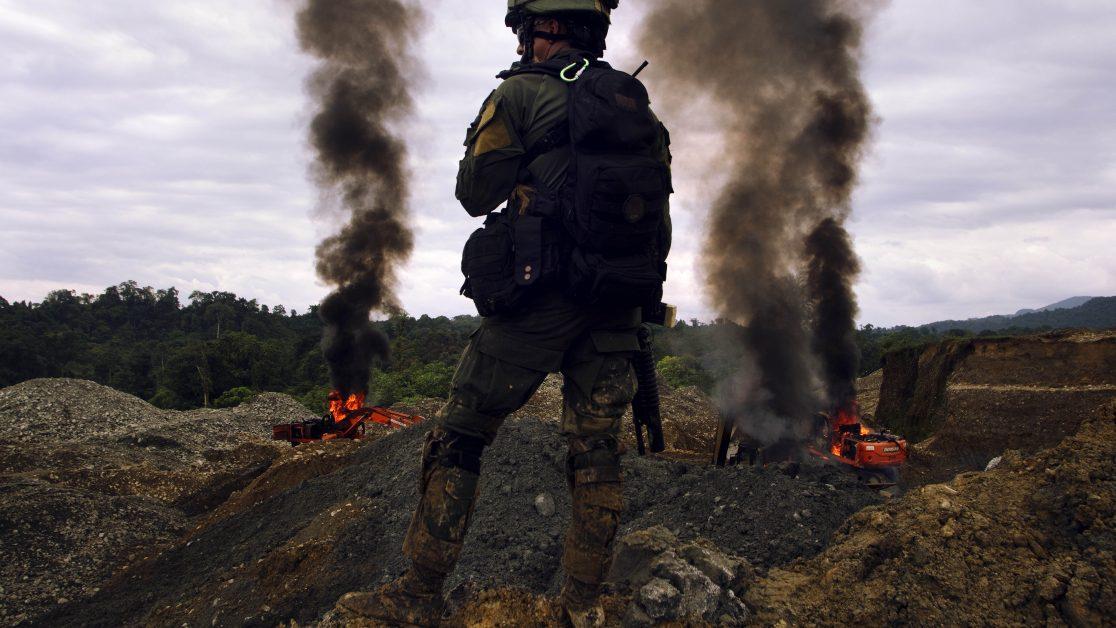 Zona Rural Barbacoas, Nariño, Sur de Colombia. 26/09/2017. Operación contra la minería ilegal que realiza la Policía Nacional de Colombia en el sur del país. © Juan Manuel Barrero Bueno